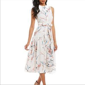 New Antonio Melani Isolde Poplin Floral Midi Dress